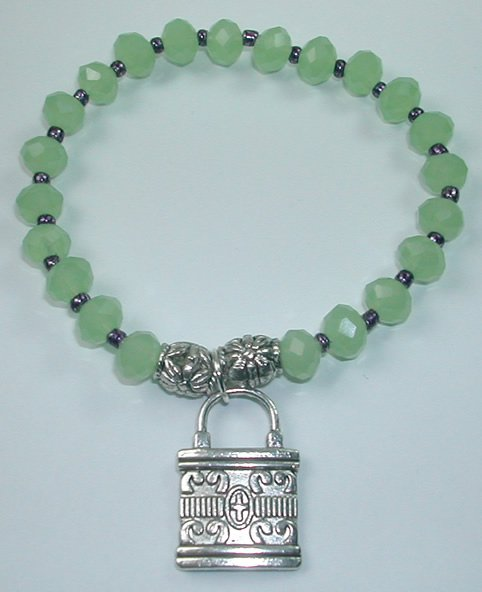handcrafted Green Crystal Stretch Bracelet withSilver Plated Lock