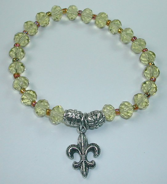 handcrafted Yellow Crystal Stretch Bracelet with Silver Plated Fleur de Lis