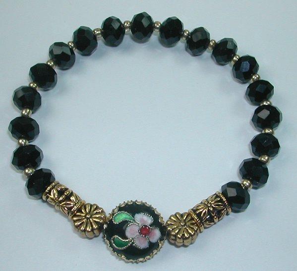 handcrafted Black Crystal Stretch Bracelet with Floral  Black and Pink Cloisonne Flower