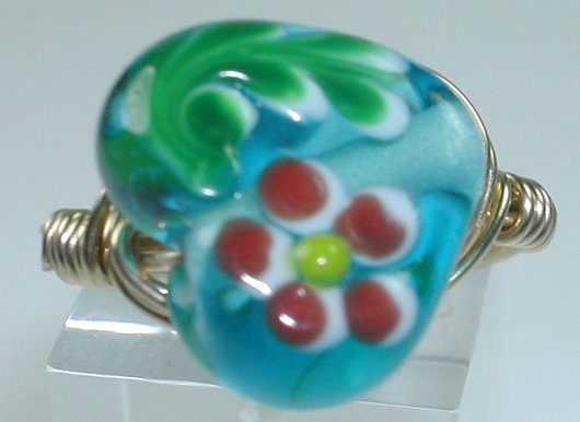 handcrafted Gold Colored Wire Wrapped Turquoise Lampwork Heart Floral Ring