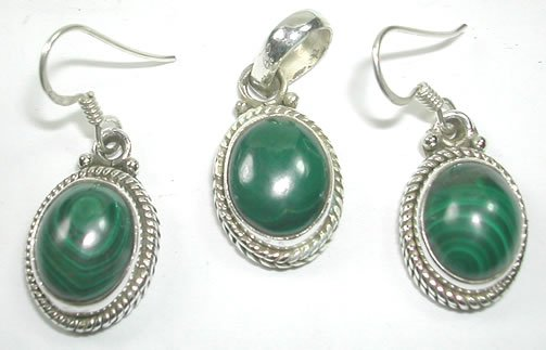 Green Malachite Pendant and Earring Set in Sterling Silver