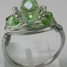 handcrafted  Silver Colored Wire Wrapped Green Crystal Ring