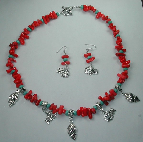 Coral and Turquoise Howlite  Necklace and Earring Set with Shells and Fishes