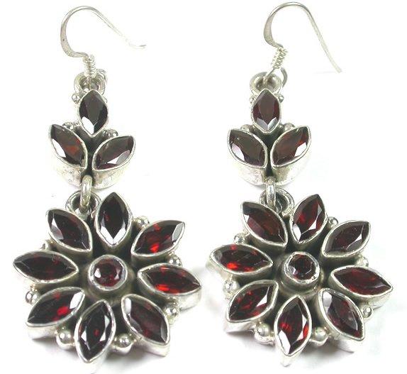 Red Garnet Earrings in Sterling Silver