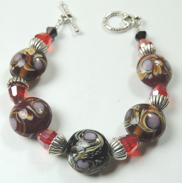 Red Black Brown Patterned Lampwork Bracelet with Lilac and Red & Black Crystal