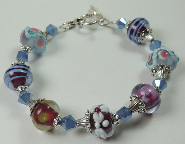 Lilac Red Blue Patterned & Floral Lampwork Bracelet with Blue Crystal
