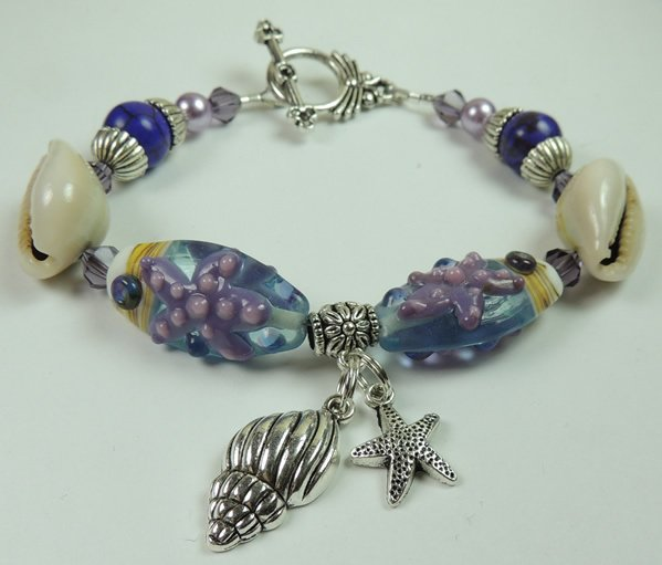 Womans Purple Star Fish Lampwork Bracelet with Sea Shells Lilac Pearls