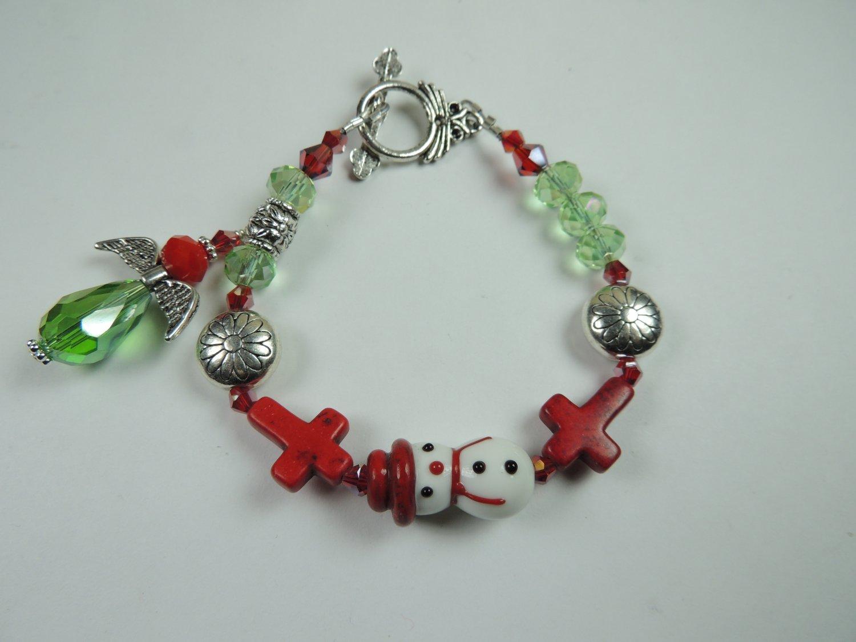 Red & White Snowman Christmas  Lampwork  Bracelet Red Howlite Crosses