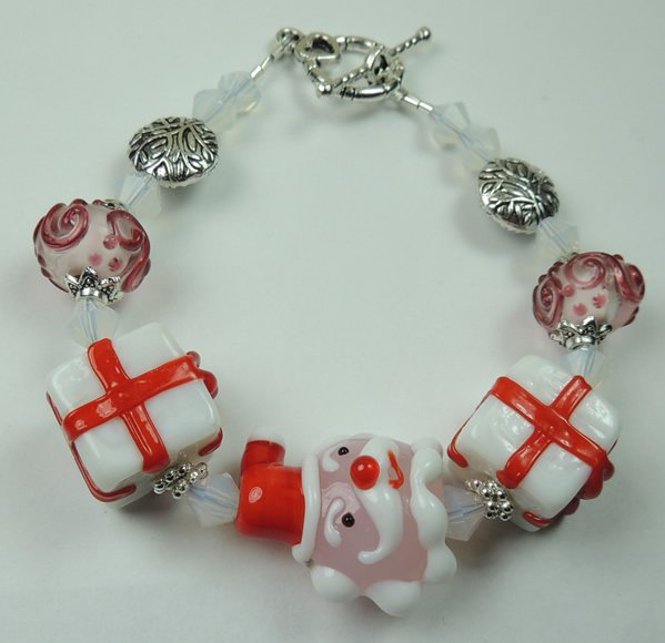 Red and White New Christmas Santa Lampwork Bracelet with White Frosted Crystal