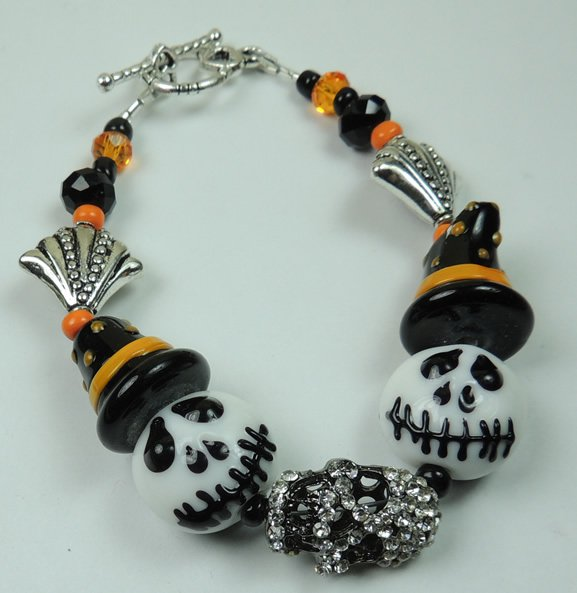 White and Black Skull Lampwork with Witches Hats & Silver Rhinestone Skull