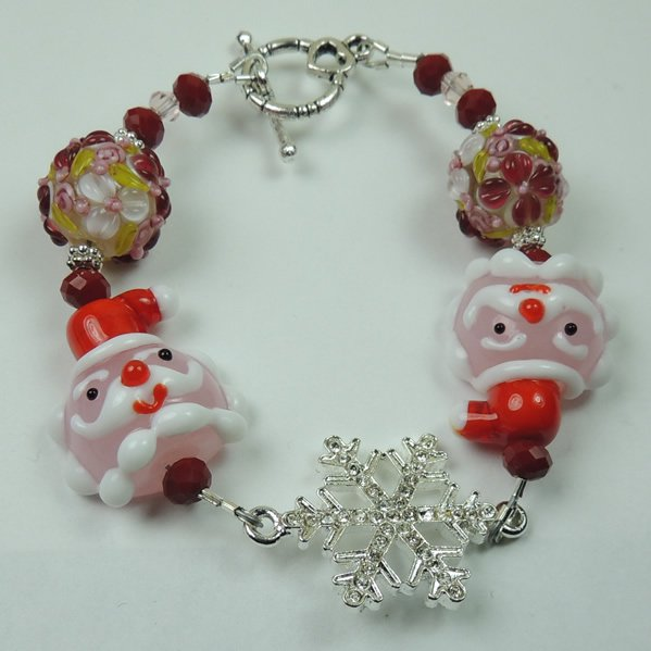 Pink Red and White Christmas Santa Lampwork Bracelet with Silver Tone Rhinestone Snowflake