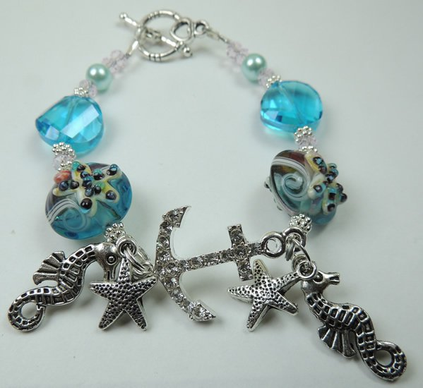 Turquoise Starfish Lampwork Bracelet with Rhinestone Anchor and Metal Silver Tone Charms