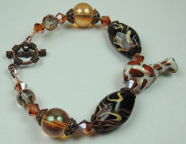 Black Brown Beige Swirl Lampwork Bracelet with White & Red Spotted Porcelain Giraffe