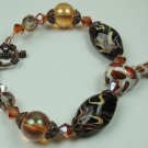 Black Brown Beige Swirl Lampwork Bracelet with White & Red Spotted Porcelain Giraffe