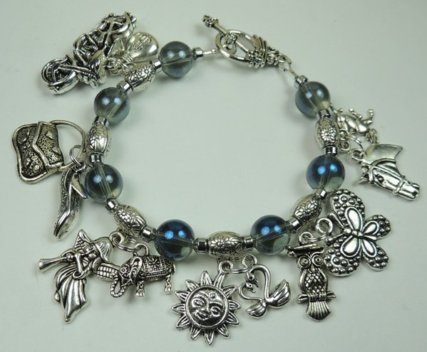 Silver Tone Charms Bracelet with Butterfly Sun Angel & Blue Glass Beads