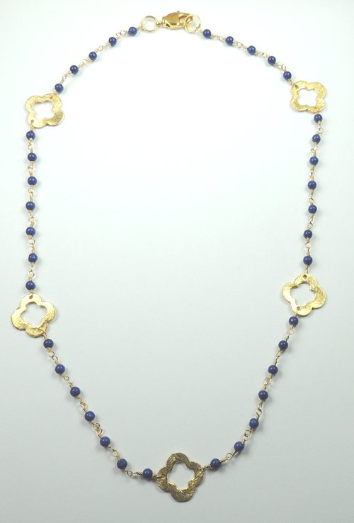 Handcrafted Fancy Blue Lapis Gold Plated Necklace