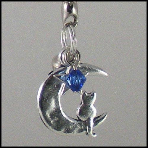 Sailor Moon Luna ~ Cat on a Crescent Moon Key Chain (Dark-Blue)