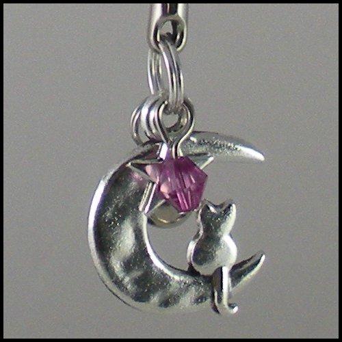 Sailor Moon Luna ~ Cat on a Crescent Moon Key Chain (Purple)
