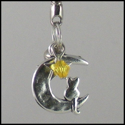 Sailor Moon Luna ~ Cat on a Crescent Moon Key Chain (Yellow)