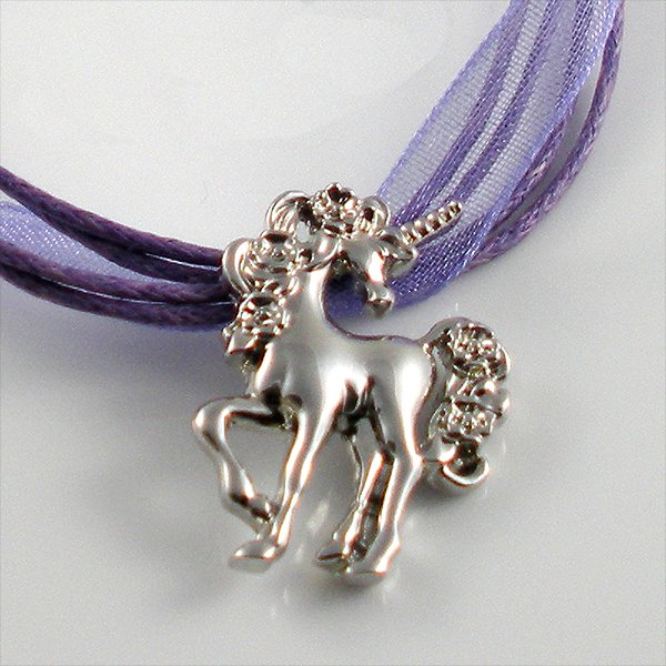 Silver Rhodium Unicorn with Roses Purple Ribbon Necklace