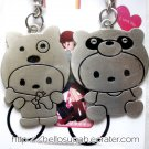 Stainless Steel Boyfriend / Girlfriend Couple Key Chains - Cute Rabbit and Bear