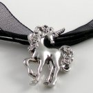 Silver Rhodium Unicorn with Roses Black Ribbon Necklace