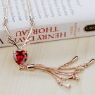 Game of Thrones Baratheon Red Crystal Heart Pendant Necklace