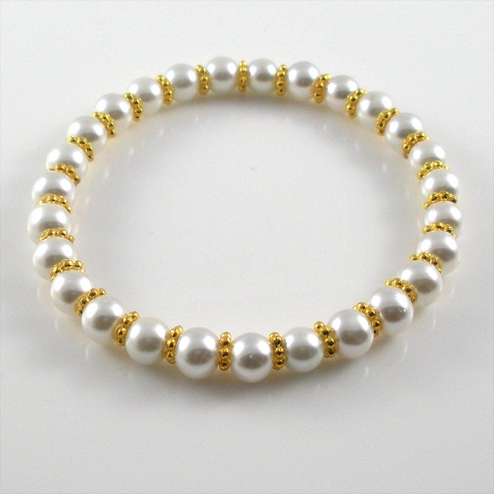 [01] [Gold] Kamala Glass Pearl Elastic Bracelet - White