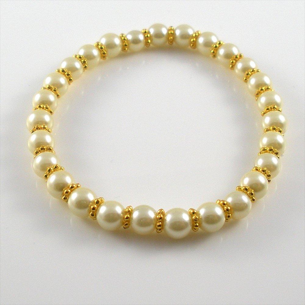[03] [Gold] Kamala Glass Pearl Elastic Bracelet - Cream