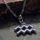 Silver Zodiac Charm Necklace - Aquarius the Water Bearer (silver)