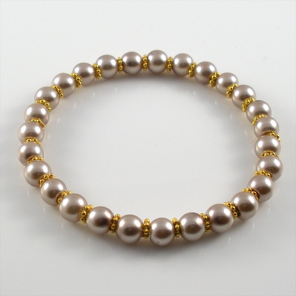 [10] [Gold] Kamala Glass Pearl Elastic Bracelet - Light Coffee