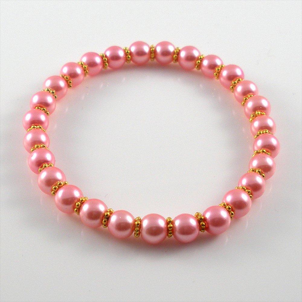 [19] [Gold] Kamala Glass Pearl Elastic Bracelet - Pink