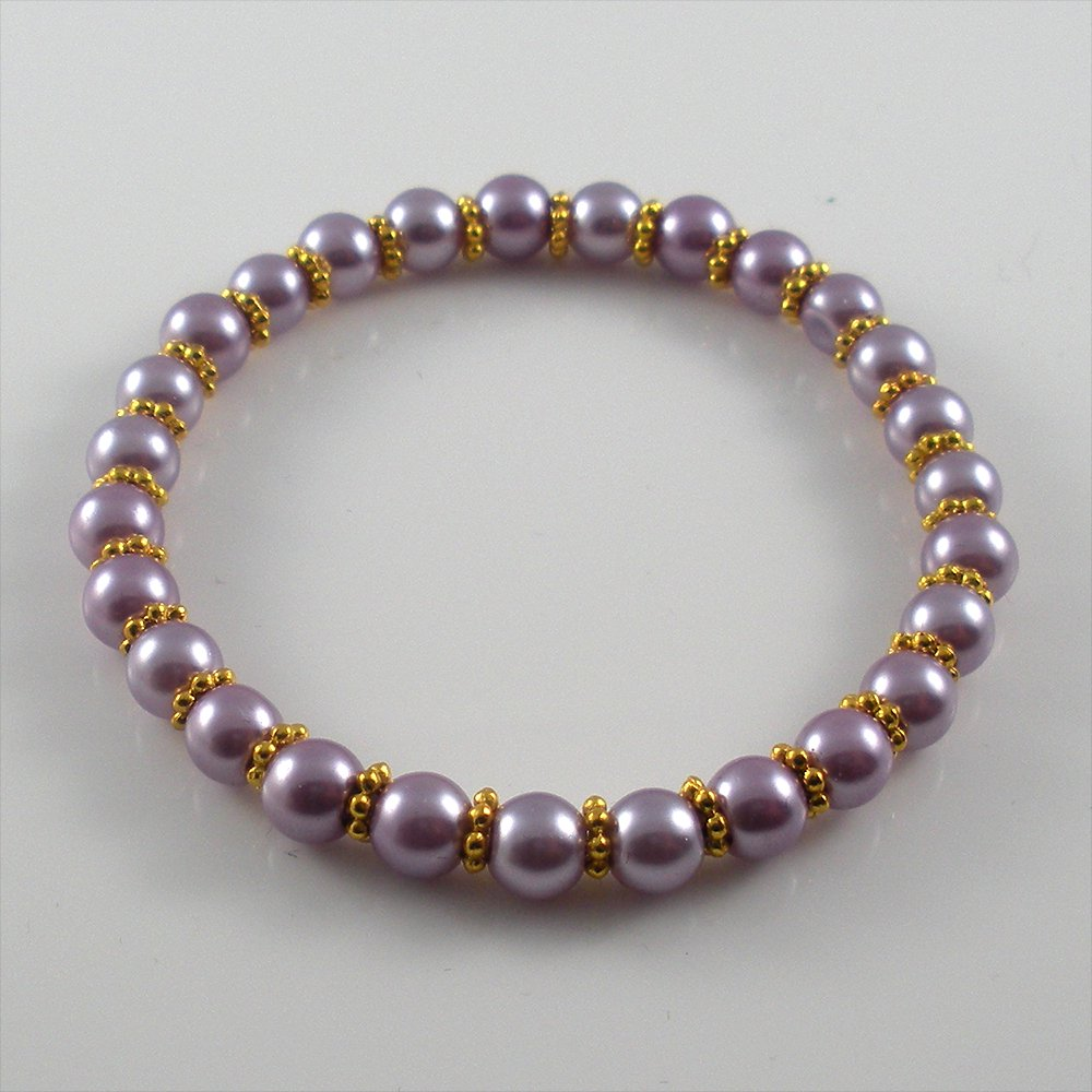 [25] [Gold] Kamala Glass Pearl Elastic Bracelet - Lavender