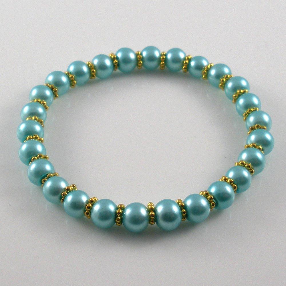 [34] [Gold] Kamala Glass Pearl Elastic Bracelet - Aquamarine