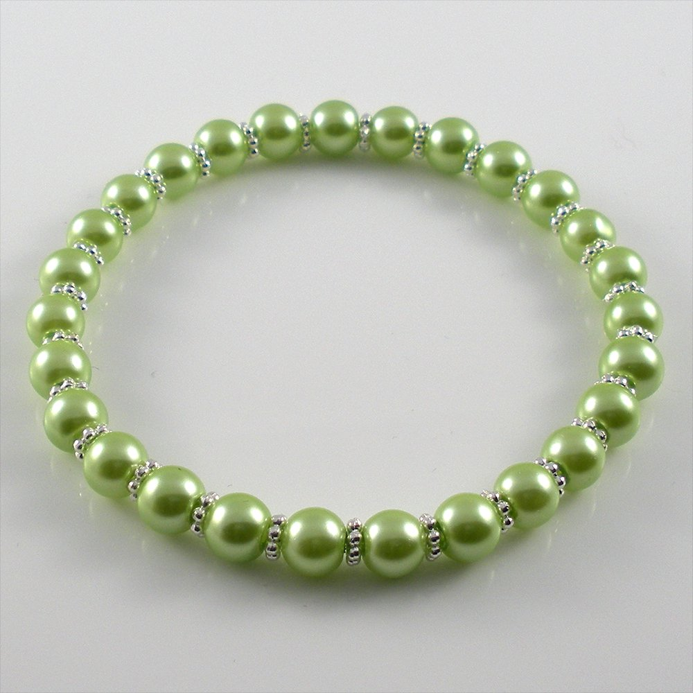 [44] [Silver] Kamala Glass Pearl Elastic Bracelet - Azore