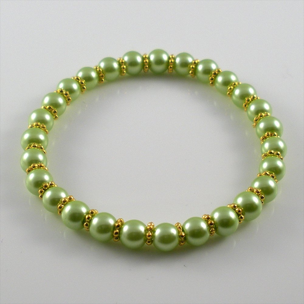 [44] [Gold] Kamala Glass Pearl Elastic Bracelet - Azore