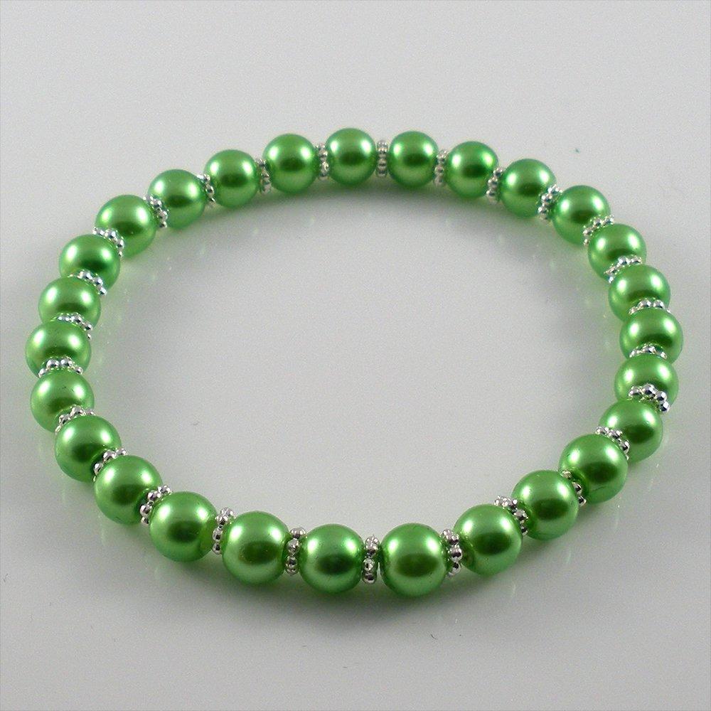 [46] [Silver] Kamala Glass Pearl Elastic Bracelet - Green