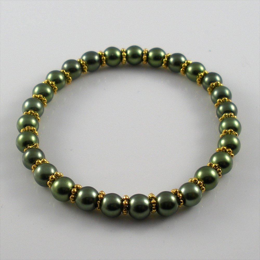 [50] [Gold] Kamala Glass Pearl Elastic Bracelet - Olive