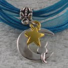 Blue Ribbon Necklace ~ Sailor Moon Luna ~ Cat on a Crescent Moon Gold Star