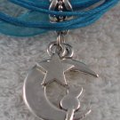 Blue Ribbon Necklace ~ Sailor Moon Luna ~ Cat on a Crescent Moon Silver Star