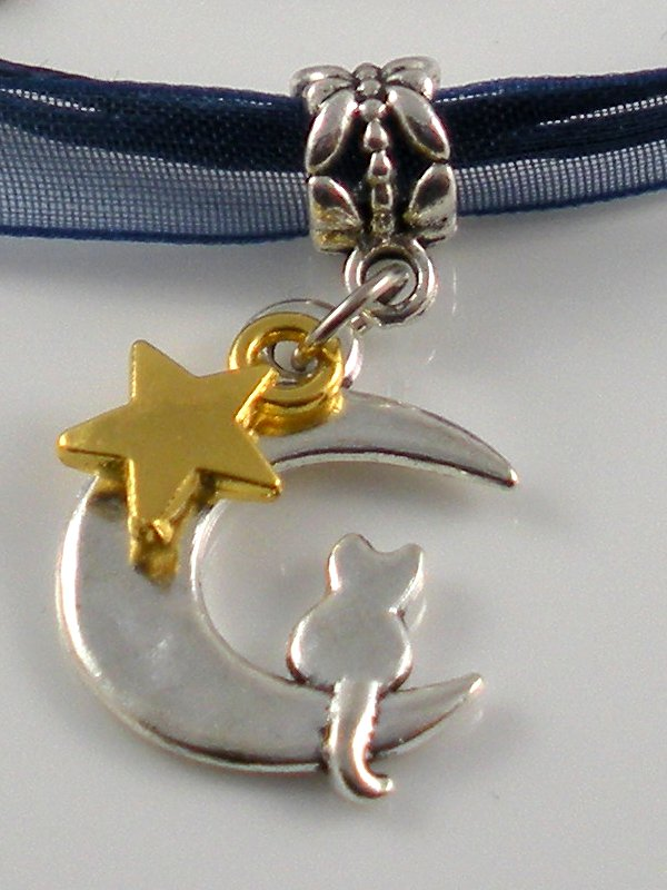 Dark Blue Ribbon Necklace ~ Sailor Moon Luna ~ Cat on a Crescent Moon Gold Star