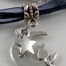 Dark Blue Ribbon Necklace ~ Sailor Moon Luna ~ Cat on a Crescent Moon Silver Star