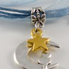 Lake Blue Ribbon Necklace ~ Sailor Moon Luna ~ Cat on a Crescent Moon Gold Star