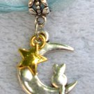 Light Blue Ribbon Necklace ~ Sailor Moon Luna ~ Cat on a Crescent Moon Gold Star