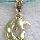 Light Blue Ribbon Necklace ~ Sailor Moon Luna ~ Cat on a Crescent Moon Silver Star