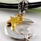 Dark Green Ribbon Necklace ~ Sailor Moon Luna ~ Cat on a Crescent Moon Gold Star