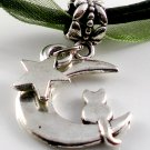 Dark Green Ribbon Necklace ~ Sailor Moon Luna ~ Cat on a Crescent Moon Silver Star