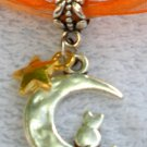 Orange Ribbon Necklace ~ Sailor Moon Luna ~ Cat on a Crescent Moon Gold Star