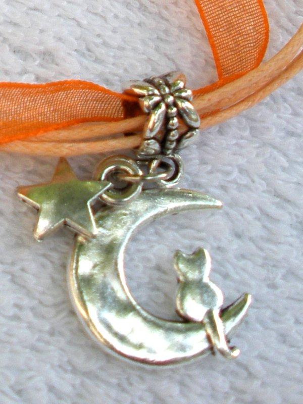 Orange Ribbon Necklace ~ Sailor Moon Luna ~ Cat on a Crescent Moon Silver Star