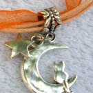 Orange Ribbon Necklace ~ Sailor Moon Luna ~ Cat on a Crescent Moon Silver Star